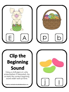 Easter themed Beginning Sounds Clip It Game.Printable Preschool Game