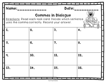 Easter themed- Commas in Dialogue- Task Cards or SCOOT GAME
