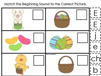 Easter themed Match the Beginning Sound Game. Printable Preschool Game