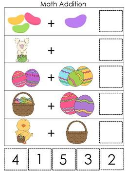 Easter themed Math Addition Game. Printable Preschool Game