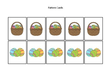 Easter themed Pattern Cards and Game Board. Printable Preschool Game