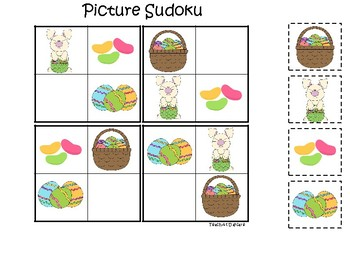 Easter themed Picture Sudoku Game. Printable Preschool Game