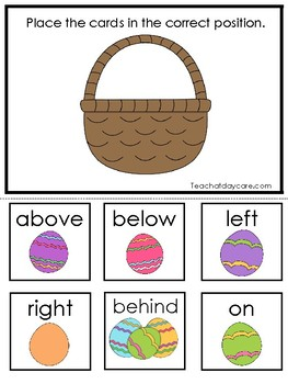 Easter themed Positional Word Game. Printable Preschool Game