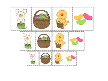 Easter themed Size Sorting. Printable Preschool Game.