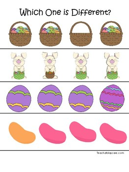 Easter themed Which One is Different. Printable Preschool Game