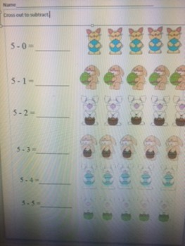 Easter themed subtraction
