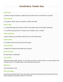 Easter- vocabulary handout
