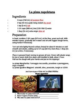 Easter worksheet, Easter cake & the Italian Pizza