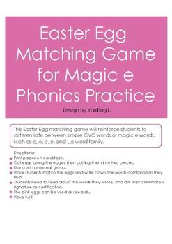 Easter Egg Matching Game Magic e Phonics Practice