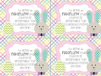 Classroom Management: Easter/Spring Reward Coupons