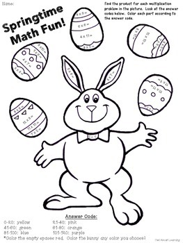 Easter/Spring Multiplication and Division Basic Facts Color Code FREEBIE!
