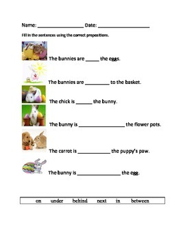 Easter/Spring Picture Preposition Practice