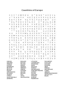 Eastern Europe Map Exercise and Word Search