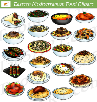 Eastern Mediterranean Food Clipart Set