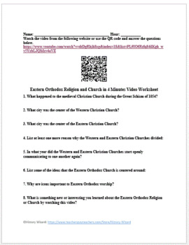 Eastern Orthodox Religion and Church in 4 Minutes Video Worksheet