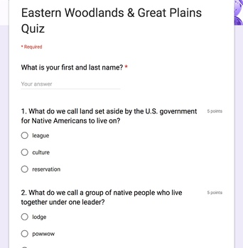 Eastern Woodlands and Great Plains Native Americans Quiz