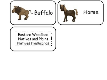 Eastern and Plains Native American themed Picture Word Flash Cards. Preschool