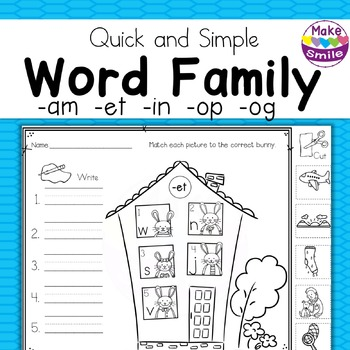 Word Families: 5 Bunny Families
