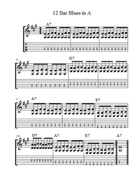 Easy 12 Bar Blues in A and A Minor Pentatonic Scale Charts