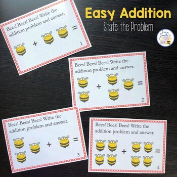 Easy Addition Spring Task Cards - State the Problem for the 0 to 4 Fact Families