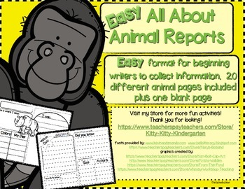 Easy All About  Animal Reports