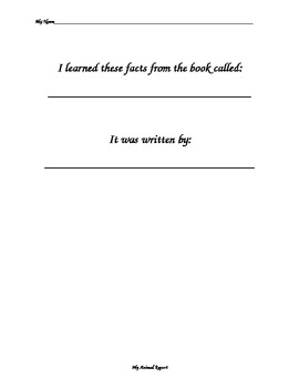 Easy Animal Report to go with Common Core (CCSS) nonfiction writing