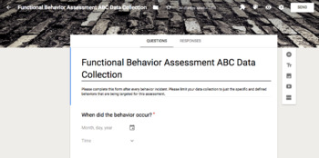 Easy Antecedent Behavior Consequence Data Collection Google Form for FBAs