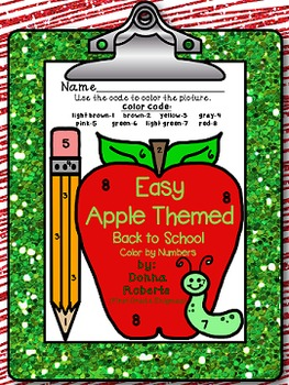 Easy Apple Themed Back to School Color by Numbers