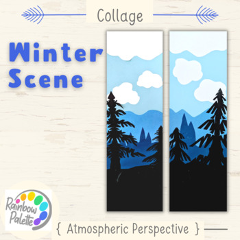 easy art lesson collage shades of blue atmospheric perspective