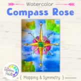 Easy Art Lesson Compass Rose Watercolor Powerpoint (NGSS, Common Core, VA)