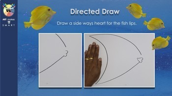 Easy Art Lesson Directed Draw and Watercolor Fish Powerpoint