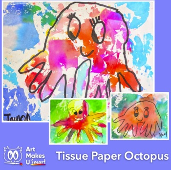 Easy Art Lesson Directed Draw and Watercolor Octopus