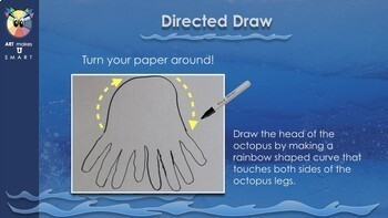 Easy Art Lesson Directed Draw and Watercolor Octopus Powerpoint