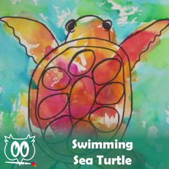 Easy Art Lesson Directed Draw and Watercolor Turtle