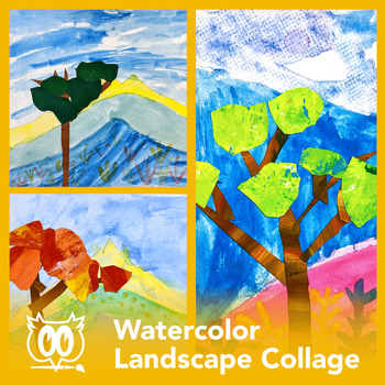 Easy Art Lesson Watercolor And Collage Landform Landscape Powerpoint