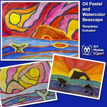 Easy Art Lesson - Watercolor and Oil Pastel Seascape