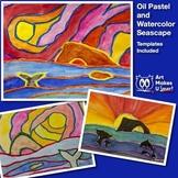 Easy Watercolor Art Project and Oil Pastel Seascape Digita