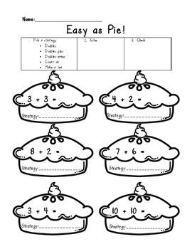 Easy As Pie Worksheet - Addition Strategies