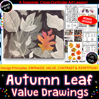 Easy Autumn Leaf  Drawings with Greyscale Values and Color Emphasis
