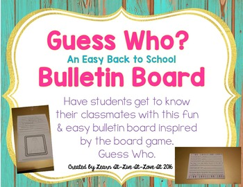 Easy Back to School Bulletin Board-Guess Who