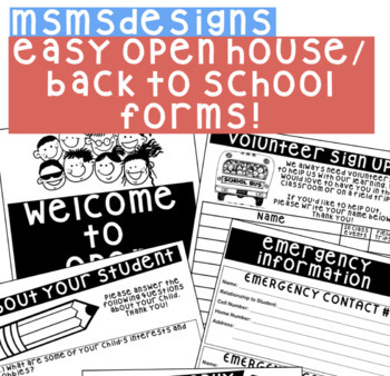 Easy Back to School Night / Open House Forms!
