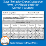 Behavior Data Collection for Middle and High School use fo