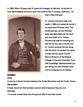 Famous Vermont Natives. Easy Biography of Phineas Gage, Level M/N