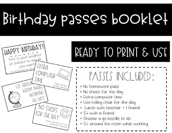 Printable Birthday Passes Booklet