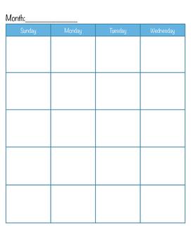 Easy Blank Homeschool Planner Calendar Free Printable