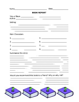 Easy Book Report Form