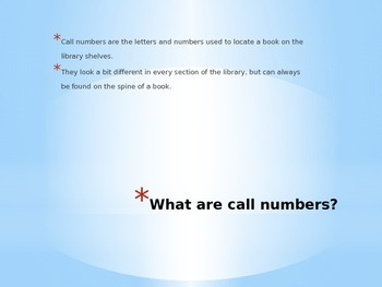 Easy Call Number Power Print Presentation