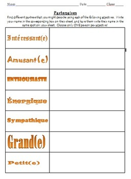 Easy Choose Partner Form - French Adjectives
