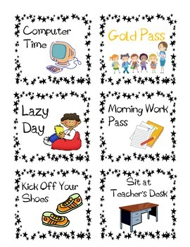 Easy Classroom Reward Coupons