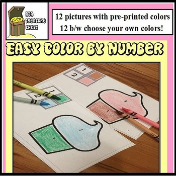 Easy Color By Number, Autism, ABA, Special Education, Preschool